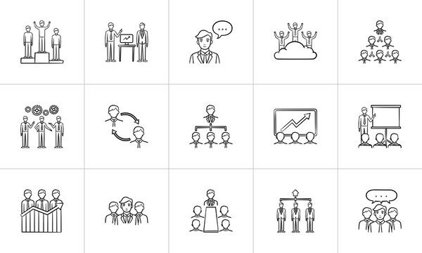 Business sketch icon set for web, mobile and infographics. Hand drawn business vector icon set isolated on white background.