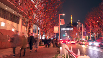 Winter illumination at Roppongi Hills and Tokyo Tower 六本木けやき坂イルミネーション
