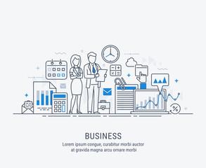 Teamwork. Modern flat thin line design vector illustration business people for web, business presentation, advertising material.