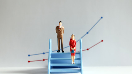 The concept of gender pay gap. A miniature man and a miniature woman standing at different heights on the stairs.