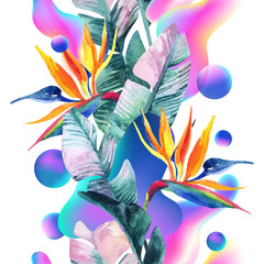 Poster de jardin Empreintes Graphiques Abstract soft gradient blur, colorful fluid and geometric shapes, watercolor palm drawing.
