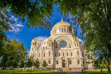 Saint Petersburg. Church in Kronstadt. Summer in St. Petersburg. Russia. View of the city of Russia.