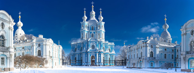 Papiers peints Lieu connus d Asie Saint Petersburg. View of the Smolny Cathedral. Russia. Winter in Petersburg. Panorama of the Smolny Cathedral. Panorama of Petersburg in winter.