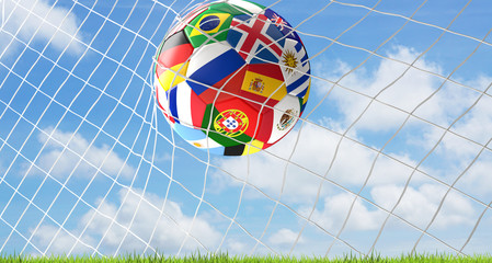 goal Russia soccer football ball 3d rendering