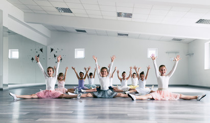 Choreographed dance by a group of beautiful young ballerinas practicing during class at a classical ballet school.