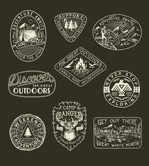 Collection of hand drawn adventure, camping, nature, travel emblems and patches