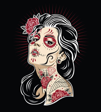 Day of the dead girl vector illustration