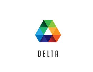 Delta triangle logo sign, 3d vector illustration
