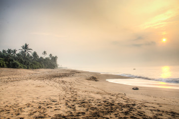 Sunset at the beach of Tangalle, Sri Lanka.