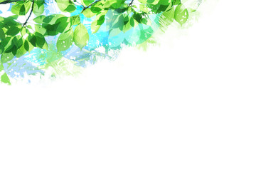 絵画風の新緑若葉(背景)