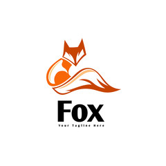 Stand cartoon fox ready for hunting logo