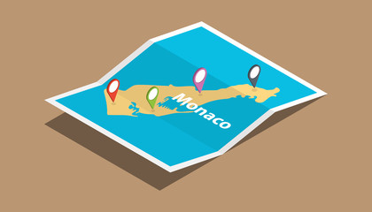 monaco explore maps country nation with isometric style and pin location tag on top