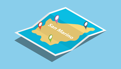 san marino explore maps country nation with isometric style and pin location tag on top