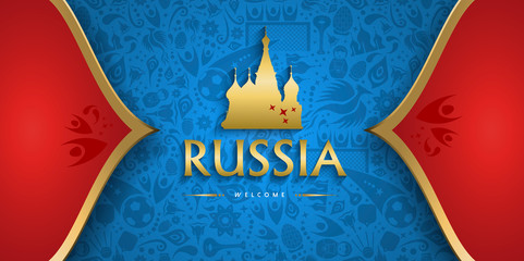 Russia soccer background with russian event sign