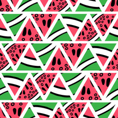 Hand drawn watermelon slices seamless pattern