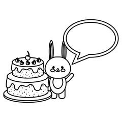 rabbit with speech bubble and cake kawaii vector illustration design