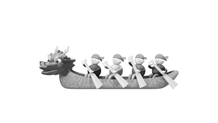 Silhouette of cartoon Chinese Dragon Boat Festival with cute characters on white background. 3d rendering picture.