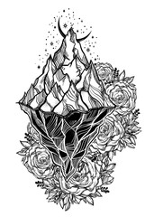 Hand drawn beautiful iceberg, sky with crescent moon in a frame of roses. Glacier design.