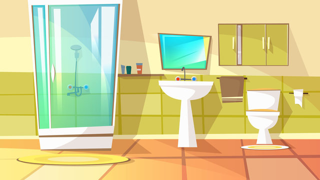 Bathroom with stall shower vector illustration of home interior. Domestic toilet or bath room furniture with sink, mirror and shampoo or shower gel on shelf with towel or carpet on tile floor