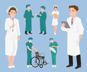 Medical staff, Doctors and nurse assistants.