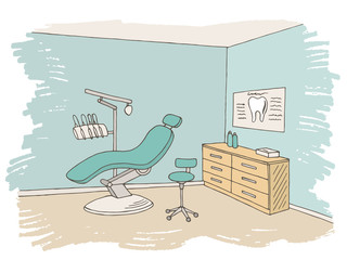 Dentist office clinic graphic color sketch interior illustration vector