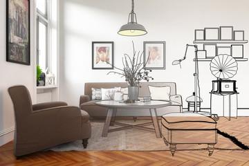 Modern Retro Style Furnishing (conception)