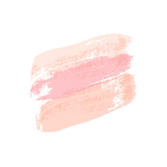 Pastel pink brush strokes isolated on white background. Vector design element.