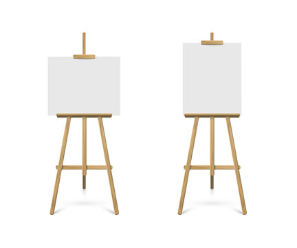Easels with horizontal and vertical paper sheets. Vector realistic design elements.