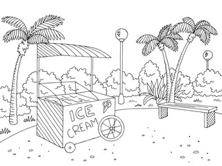 Street food ice cream graphic black white landscape sketch illustration vector