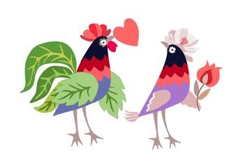 Смешные цыплята - романтичная пара петуха и курица с сердцем и цветок в вектор. Красивое приветствие или пригласительный билет.