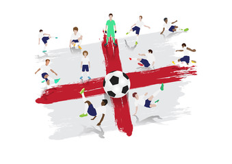 Vector soccer player team with England flag background