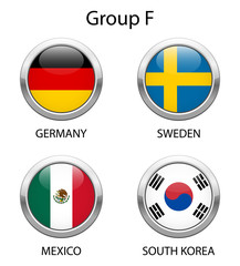 Football 2018 in Russia. Group F. Shiny metallic icons buttons with national flags isolated on white background.
