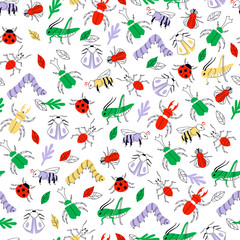 Doodle Hand Drawn Insect Seamless Background. Vector Illustration.