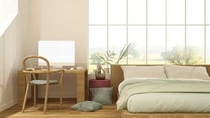 The interior minimal japanese hotel bedroom space 3d rendering and nature view background