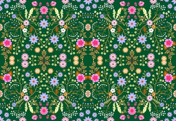 Ditsy seamless floral pattern with fantasy little flowers and leaves in folk style. Fabric for fun bedspreads.  Vector illustration.