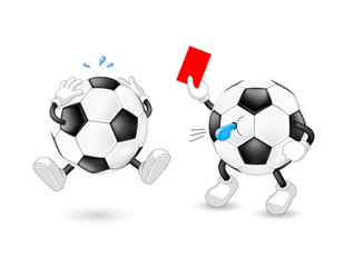 Cartoon soccer referee giving red card. Sport character design. Illustration isolated on white background.