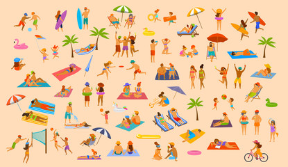 people on the beach fun graphic collection. man woman, couples kids, yound and old enjoy summer vacation,relax,chill have fun, surfing, play dance lying on towel sunchairs sand, eat ice drink cocktail