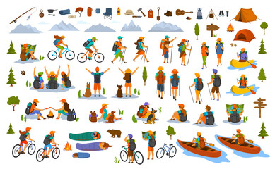 collection of hiking trekking people. young man woman couple hikers travel outdoors with mountain bikes kayaks camping, search locations on map, sightseeing discover nature graphic, isolated scenes  Wall mural