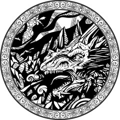 The head of a snarling dragon