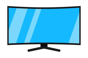 Cartoon black hd tv isolated on white