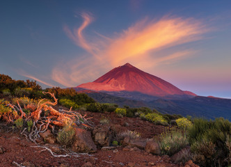 Teide volcano in Tenerife in the light of the rising sun.
