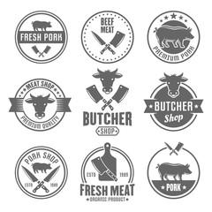 Butcher shop vector monochrome vintage emblems