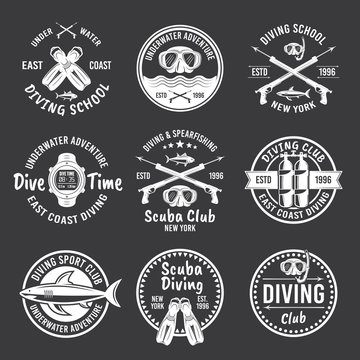Diving, spearfishing vector white labels on dark