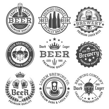 Beer and brewery vector black and white emblems