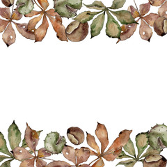 Autumn chestnut leaves. Leaf plant botanical garden floral foliage. Frame border ornament square. Aquarelle leaf for background, texture, wrapper pattern, frame or border.