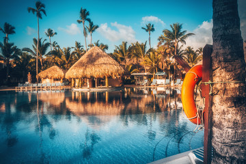 Tropical swimming pool in luxury resort, Punta Cana