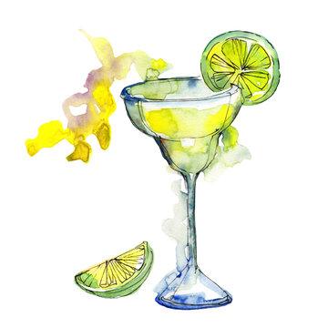 Margarita bar party cocktail drink. Alcohol in glass set, restaurant menu illustration. Aquarelle cocktail drink illustration for background, texture, wrapper pattern, frame or border.