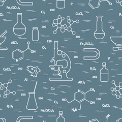 Seamless pattern: scientific, education elements.