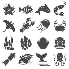 Sea animal related icons. Thin vector icon set
