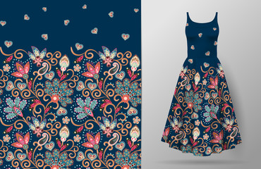 Seamless vertical fantasy flowers pattern. Hand draw floral background on dress mockup. Vector. Traditional eastern pattern for textiles, wallpapers, decor etc. Pink blue beige pattern on dark bue.